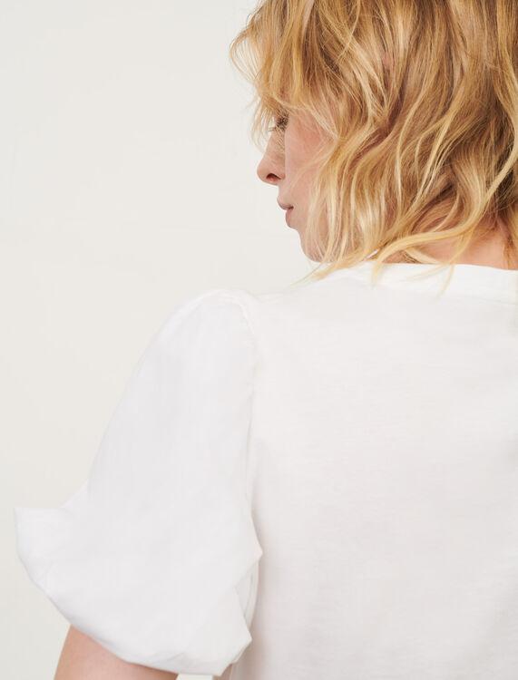 White mixed material T-shirt - T-Shirts - MAJE