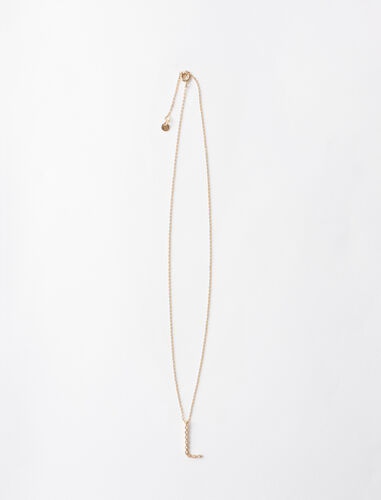Rhinestone L necklace : Jewelry color Gold