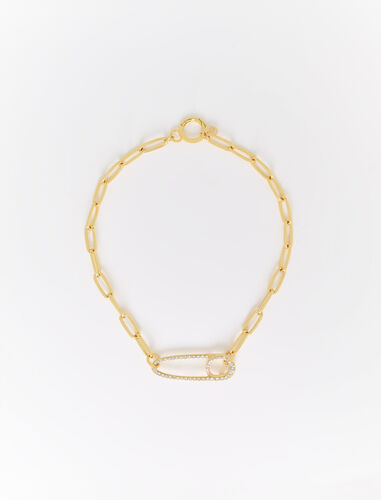 Chunky chain safety pin pendant necklace : Jewelry color Gold