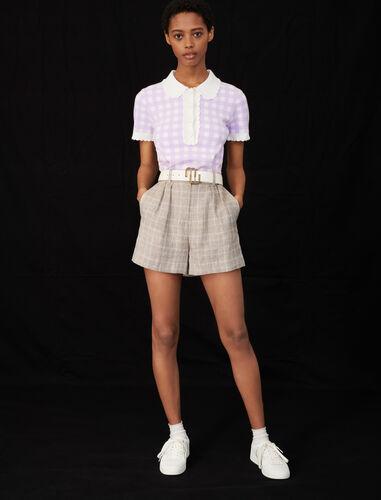 格纹娃娃领短袖T恤 : null 顏色 淡紫色/MAUVE