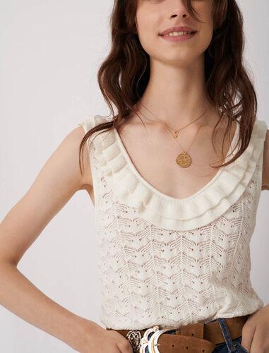 花式背心毛衣 : 针织 顏色 淡褐色/ECRU