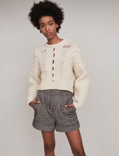 Plaid turn-up shorts : Shorts color Grey