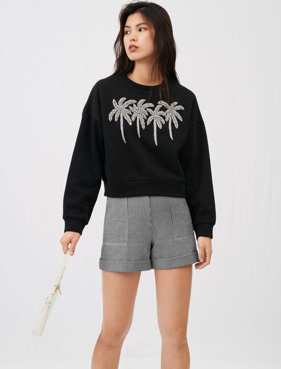 Rhinestone sweatshirt - Tops - MAJE