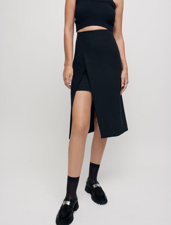 Calf-length split pencil skirt - null - MAJE