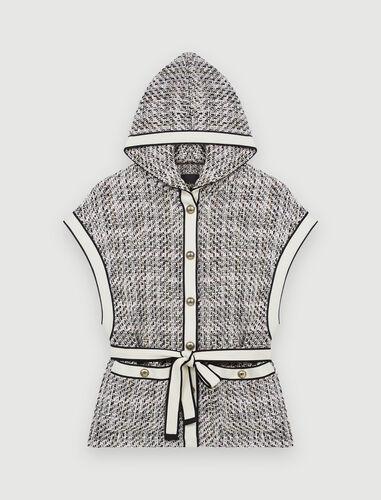 Tweed-style sleeveless jacket : Coats & Jackets color Pale Pink
