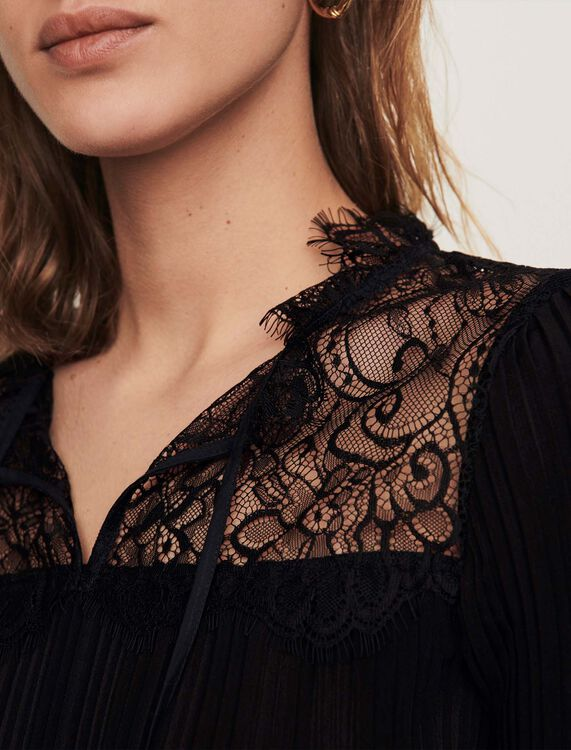 Pleated top with lace trim - Tops - MAJE