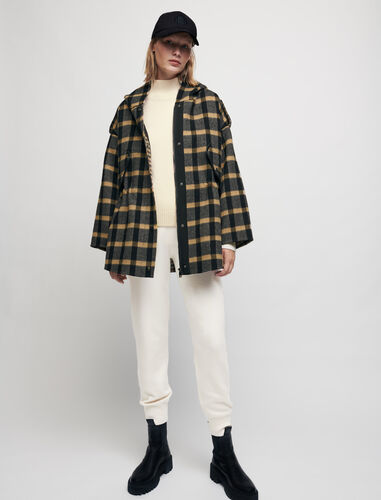 Checked coat with hood : Coats & Jackets color Black/Camel