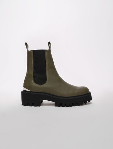 Chelsea boots with platform sole : Booties & Boots color Khaki