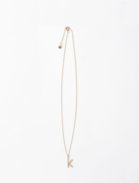 Rhinestone K necklace -  - MAJE