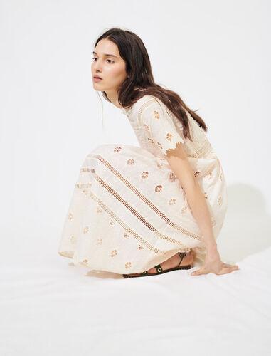 Guipure maxi dress with trim : Dresses color Nude