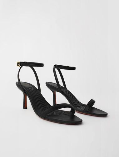 High-heeled sandals with leather straps : Boots & Flat shoes color Black