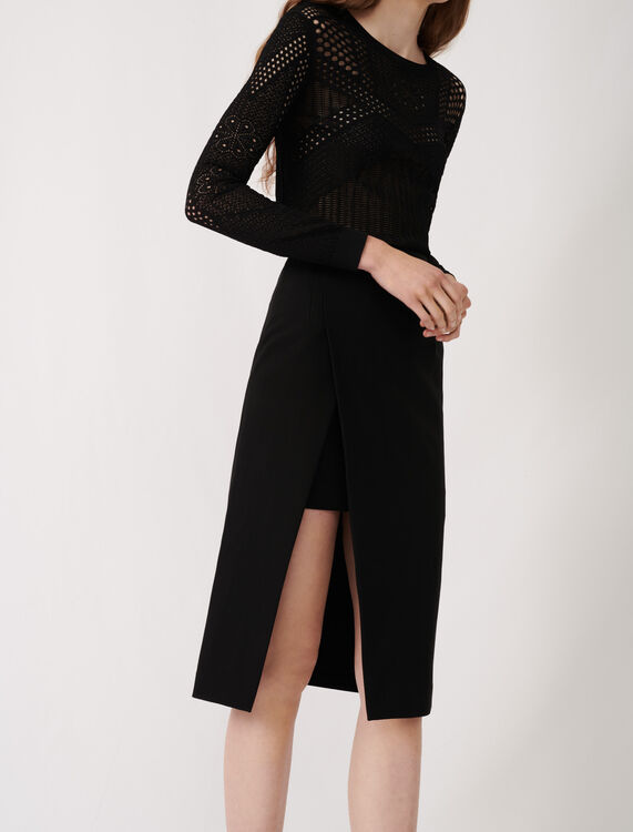 Calf-length split pencil skirt : Skirts color Black