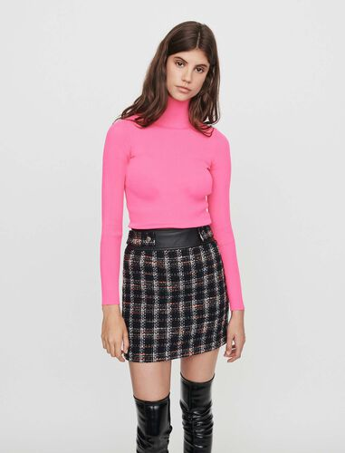 Light ribbed turtleneck sweater : Sweaters color Fluorescent Pink