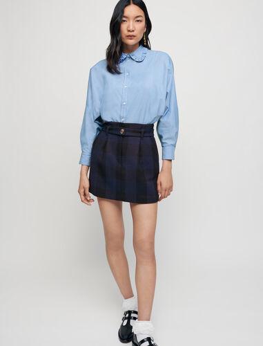 100% cotton shirt with Peter Pan collar : Shirts color Blue Sky