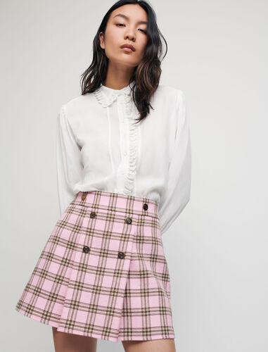 Checked pleated skirt : Skirts color Pink