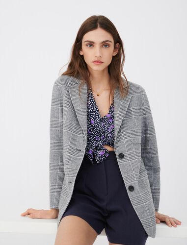 Blazer-style double face coat : Blazers color Grey