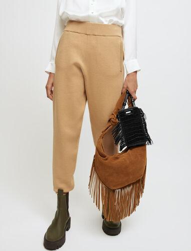Suede tie bag with fringing : Shoulder bags color Camel