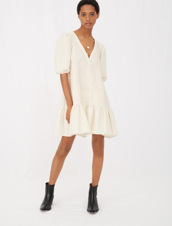 Dress in cloqué fabric : Dresses color Ecru