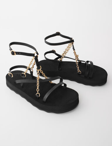 Sandals with leather straps and chain : Boots & Flat shoes color Black