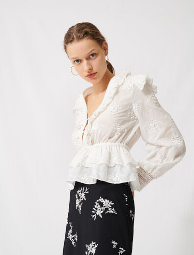 Broderie anglaise top : Tops color Ecru