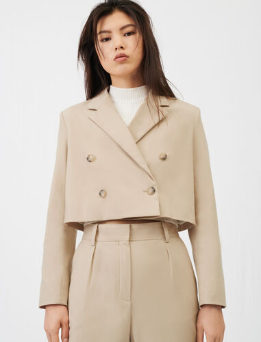 Short double-breasted suit jacket : Coats & Jackets color Beige