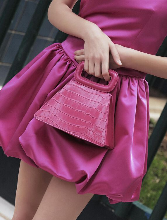 Crocodile-effect leather pyramid bag : M Bag color Fuchsia