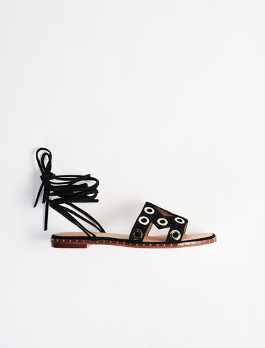 Suede tie sandals with eyelets : Boots & Flat shoes color Black
