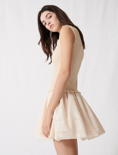 Smocked knit skater dress : Dresses color Light Beige