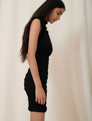 Figure-hugging smocking and ruffle dress : Dresses color Black
