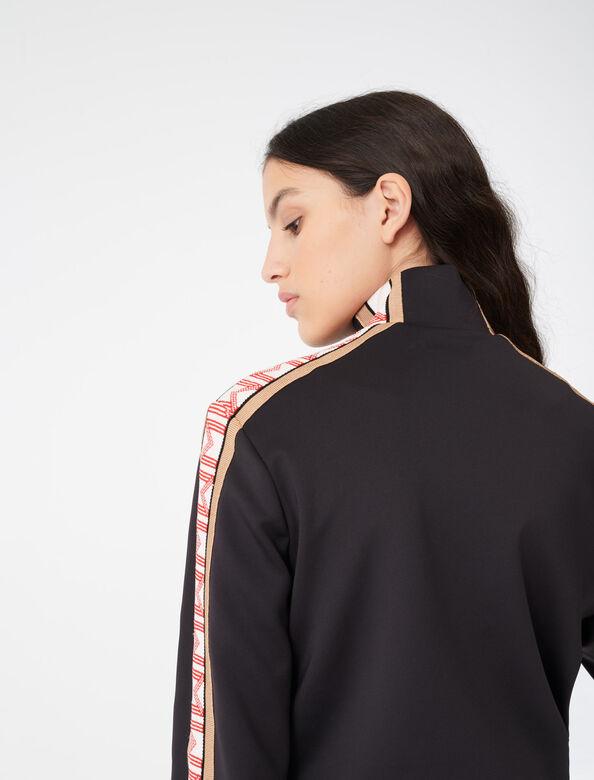 Zip sweatshirt with contrasting bands : Tops color Black