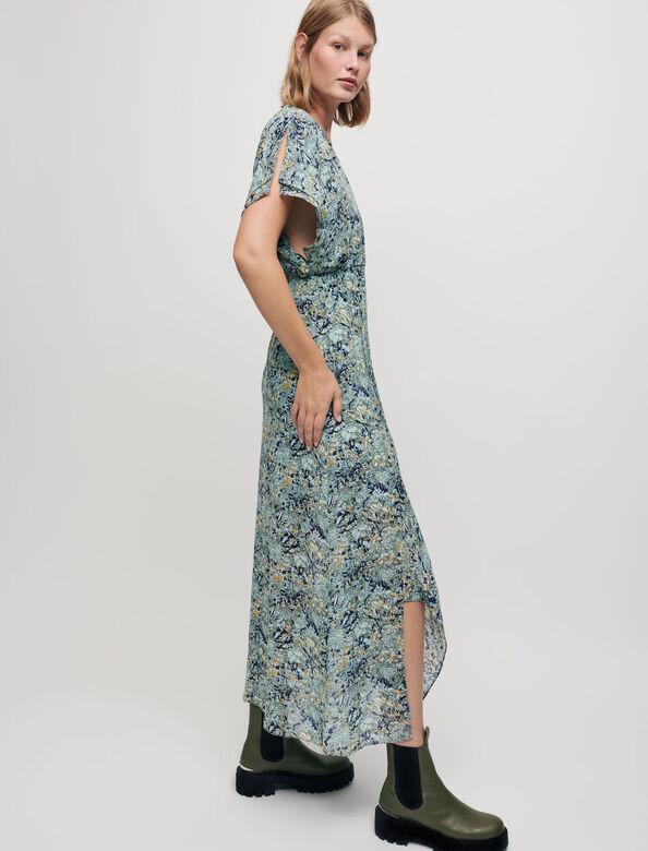 Printed chiffon scarf dress : Dresses color Blue Bouquet