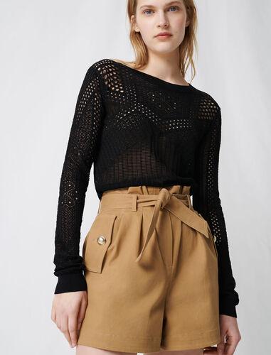 Camel cotton canvas belted shorts : Shorts color Camel