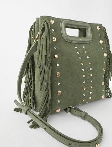 Studded khaki leather M bag : M Bag color BIRCH