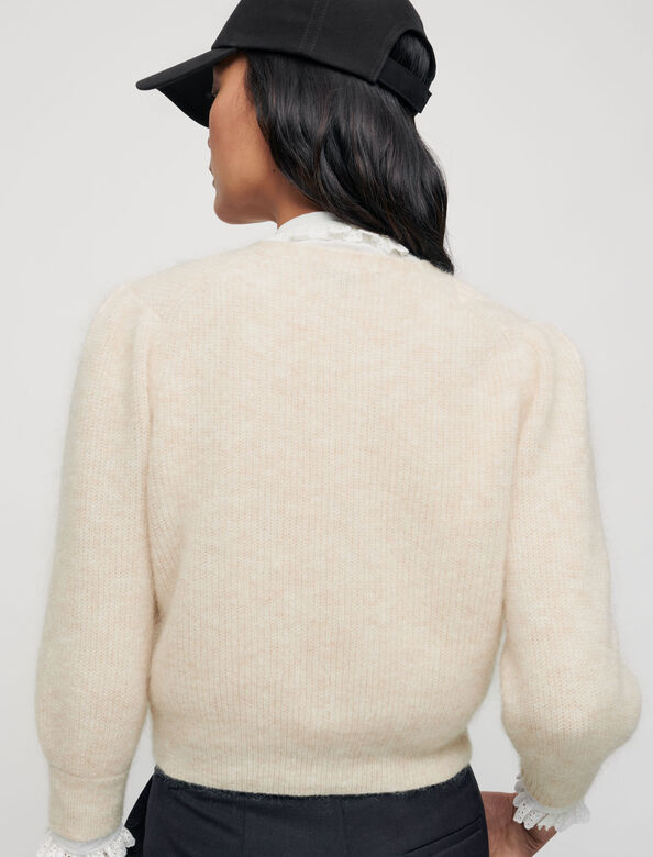 Mohair cardigan with pearl buttons : Sweaters & Cardigans color Beige