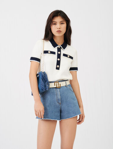 Contrasting polo style jumper : Tops color Ecru