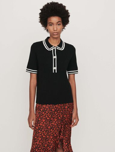 Contrast and jeweled polo-style sweater : Tops color Black