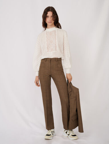 Straight cut checked trousers : Trousers color Brown