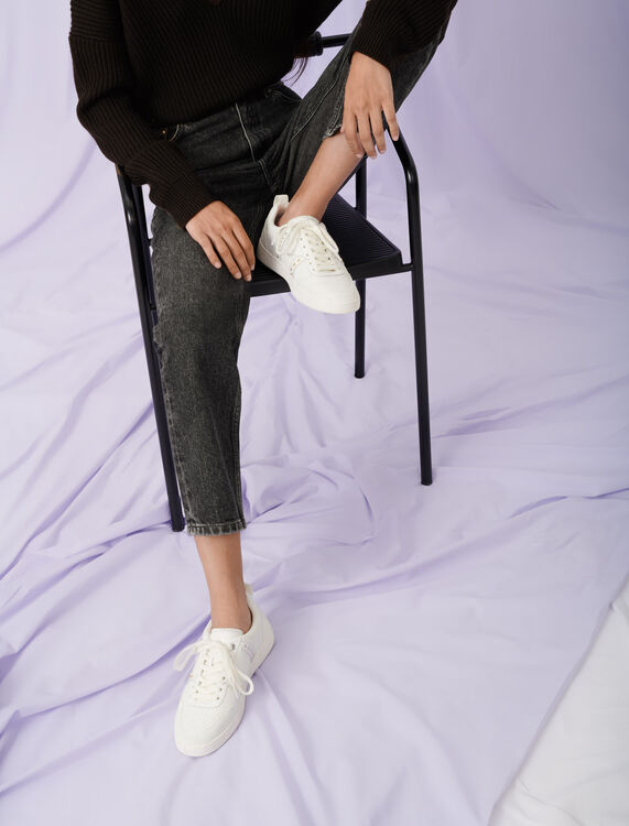 Studded white leather sneakers : Sneakers color White