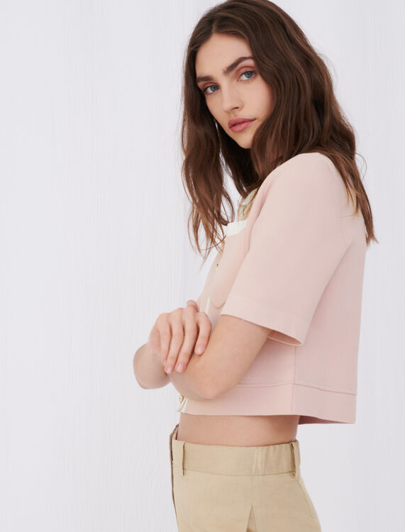 Cropped cardigan with contrasting bands - Cardigans - MAJE