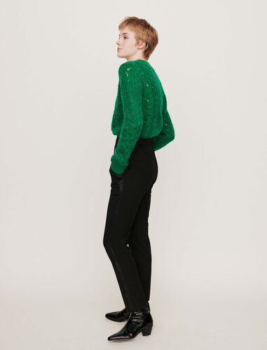 Side satin stripe tuxedo pants : Trousers color Black