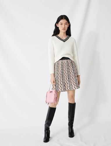 V-neck jumper in decorative knit : Sweaters color Ecru