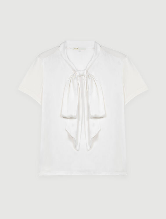 Satin Maje monogram T-shirt : Tops color Ecru