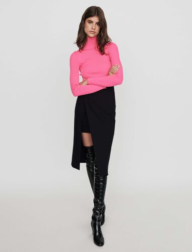 Calf-length split pencil skirt : Skirts color Black