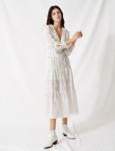 Ecru dress with ruffles and embroidery : Dresses color Ecru