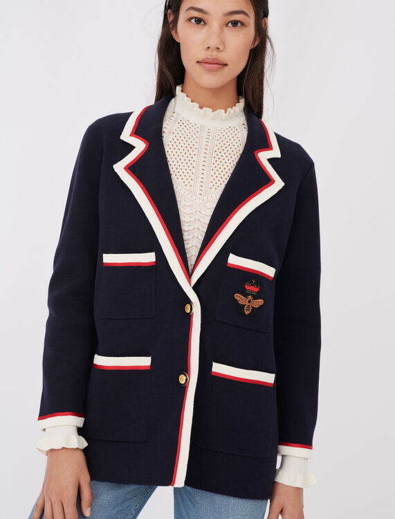 Contrasting collar and pocket cardigan - null - MAJE