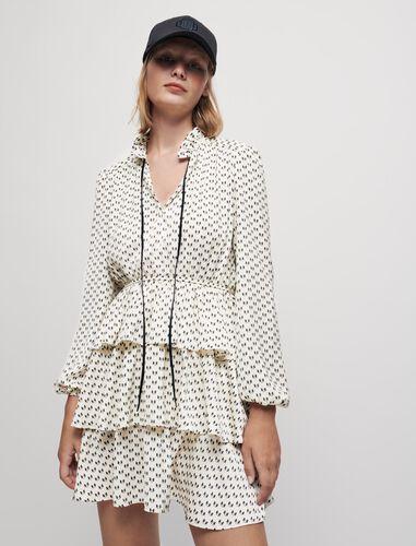 Satin bow print dress : Dresses color Ecru Knots