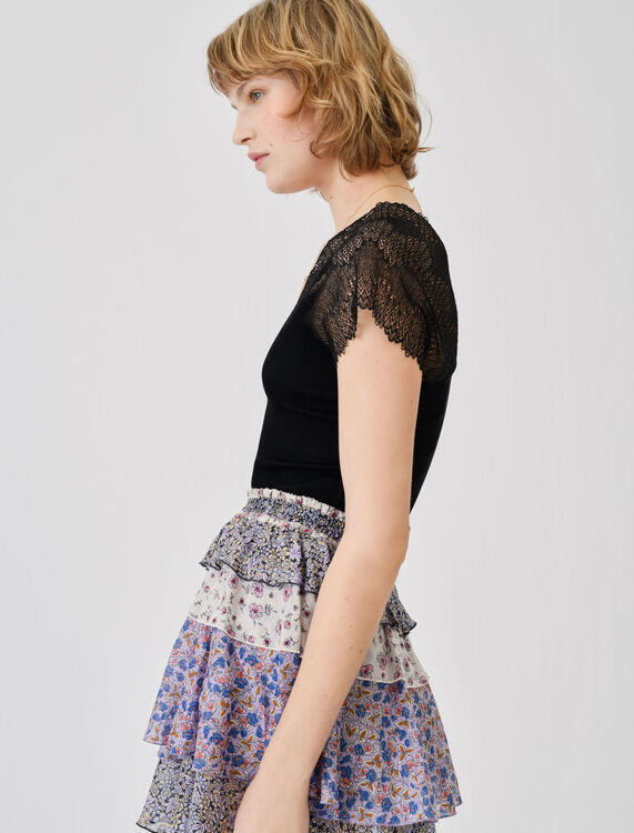 Jersey top with lace trim - Tops - MAJE