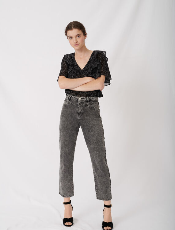 High-rise faded jeans : Jeans color Anthracite