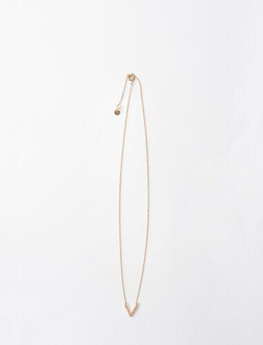 字母v水钻装饰项链 : 首饰 顏色 金色/GOLD