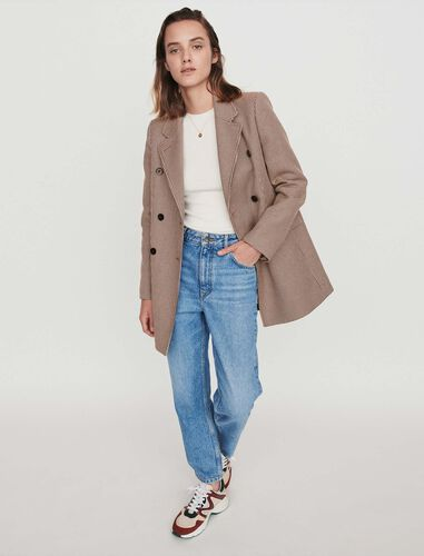 Plaid jacket-like coat : Overcoat color Camel